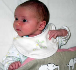 Naomi - This is a gorgeous picture of Naomi at 2 weeks old. She was 3.46kg about 7lb 11oz and she was 50 cm long with a HC of 37cm.